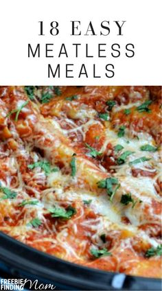 Get inspired to forgo meat (and save money!) with these 18 excellent tasting, easy, meatless meal recipes including Italian & Mexican meals. Meal Recipes, Low Calorie Recipes, Easy Dinner Recipes, Slow Cooker Recipes, Delicious Recipes, Easy Meals, Healthy Recipes, Diabetic Recipes, Weight Loss Meal Plan