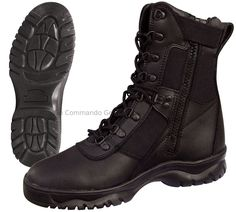 """- 'Forced Entry' 8"""" Tactical Boot With Side Zipper - Color: Black - Leather & Nylon Upper - Leather Collar - Steel Shank - Gusseted Tongue - Slip Resistant Sole - Speedlace Eyelets - Rust-Proof Hardwa"""