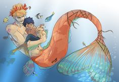 Corazon & Law < merman and merboy Mermaid Drawings, Mermaid Art, Art Drawings, Anime Mermaid, Fantasy Kunst, Fantasy Art, Character Inspiration, Character Art, Mermaids And Mermen