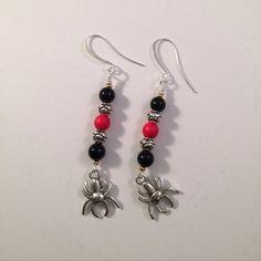 Halloween Black Widow Earrings Black Onyx Red by Lilyspad58