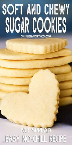 Easy Sugar Cookie Recipe for soft & chewy sugar cookies that come out perfect every time - no chill time required. Great for any holiday & super delicious gifts. You'll love them.