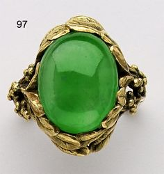 Art Nouveau Jadeite and carved gold ring. Louis Comfort Tiffany for Tiffany & Co.