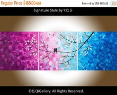 Hand Paint Love birds acrylic painting Wall decor by QiQiGallery