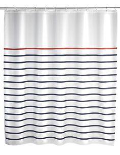 Der pflegeleichte Duschvorhang in weiß aus 100% Polyester mit Streifen in blau und rot verfügt über eine wasserabweisende Oberfläche und ist waschbar bei 30°C.  Mit umweltfreundlichem Gewichtsband aus...