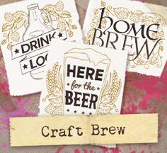 Craft beer lovers unite with this collection of hoppy designs! Stitch onto apparel, bottle carriers, bar towels, and more.