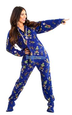 Marvin The Martian Footed Pajamas -These Footies are loaded with extras featuring: Hoodies, thumb holes, logo zipper pull, front kangaroo pockets and a left shoulder iPhone pocket. TM & © Warner Bros. Entertainment Inc. (s12)    Model is 5'5 wearing size small $59.99