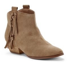 Sole Society Kemi Suede Fringe Bootie ($54) ❤ liked on Polyvore featuring shoes, boots, ankle booties, tan, suede booties, fringe bootie, fringe boots, fringe booties and suede ankle boots