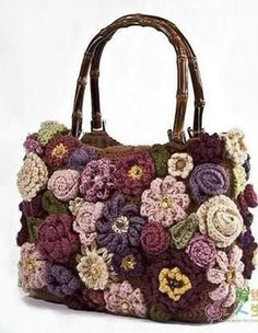 Crochet handbags or authentic Crochet handbags on sale then Visit website above click the tab for more selections . DIY Homemade Purple Crochet Flower Purse with Vanna's Choice Lion Brand Yarn Crochet purse flowers - not sure I would attempt this but the Bag Crochet, Crochet Shell Stitch, Freeform Crochet, Crochet Handbags, Crochet Purses, Irish Crochet, Crochet Crafts, Women's Handbags, Leather Handbags