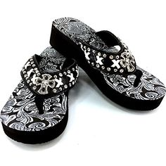 f758a310338112 online shopping for Western Peak Women s White Lace Full Rhinestones Cross  Concho Diamond Black White Flip Flops Sandals from top store.