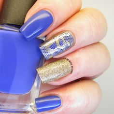 Periwinkle blue and lace nail design