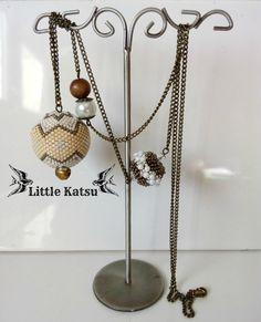 "Sautoir Perle Perlée Perles Fantaisie Perle Bois ""Bronzeo"" : Collier par littlekatsu"