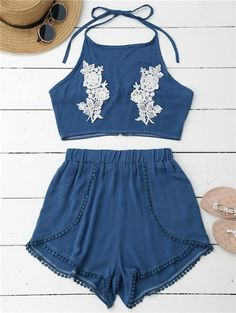 Floral Beach Crop Top/Short Set