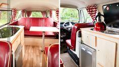 Avec ses banquettes en vinyle rouge et ses rideaux rayés, c'est une joyeuse ambiance guinguette qui règne dans ce combi VW. Source : Abacaphotog...