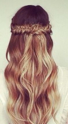 This hair style could be worn to formal spring affairs and other flings. Love the concept of bringing two fish tail braids together as a crown!