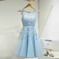 Tulle Homecoming Dress,Appliques Homecoming Dresses,Short Homecoming Dress,Prom Party Dress,Prom Gown by dresses, $144.00 USD