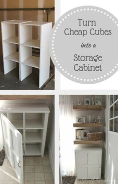 Storage Cabinet Using Cheap Cube Units Simply Beautiful By Angela: Turn Cheap Cube Units into a Storage Cabinet for Cheap!Simply Beautiful By Angela: Turn Cheap Cube Units into a Storage Cabinet for Cheap! Storage Hacks, Cube Storage, Storage Ideas, Storage Units, Garage Storage, Diy Storage With Doors, Storage Solutions, Cheap Storage Shelves, Cube Shelves