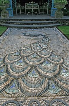 Peacock cobble mosaic entry