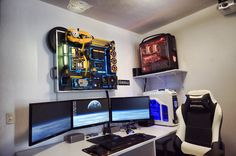 36-core 3D Rendering Workstation. Trasnformers-themed.  Bumblebee, Megatron, and Optimus
