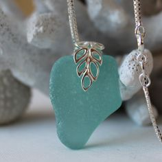 Lagoon sea glass necklace in aquamarine Aquamarine Necklace, Quartz Crystal Necklace, Sea Glass Necklace, Sea Glass Jewelry, Resin Jewelry, Jewelry Crafts, Girls Necklaces, Sterling Silver Jewelry, Jewelery