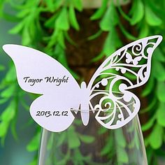 Butterly Laser-cut Card For Wine Glass