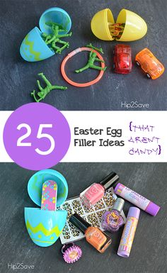 25 Easter Egg Filler Ideas that aren't candy- great ideas.  I love being creative with other things and go easy on the sugar.  Cute list of Non-candy Easter Egg Fillers