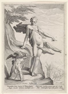 Venus shows Cupid shooting an arrow at Pluto by Jacob Matham, 1590. Rijksmuseum, Public Domain