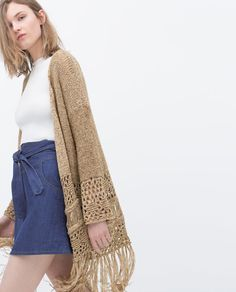 Image 2 of OPEN-WORK CARDIGAN WITH FRINGES from Zara