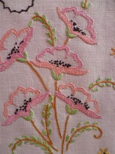 Delicate Poppies ~ Vintage Hand Embroidered Centrepiece/Mat