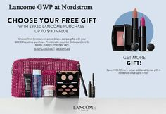 This is one of 80+ gift with purchase offers at Nordstrom. Get this FREE with $39.50 Lancome purchase. http://cliniquebonus.org/lancome-gift-with-purchase/