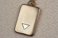 Rectangle Book Locket Necklace, Antique Art Deco Triangle Locket, Triangle Necklace Geometric, Bohemian Necklace Antique Triangle