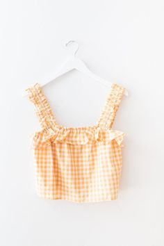 Yellow gingham printed woven top with ruffle straps and a cropped fit. Teen Swag Outfits, Crop Top Outfits, Outfits For Teens, Girl Outfits, Summer Outfits, Fashion Outfits, Tween Fashion, Girl Fashion, Pretty Outfits