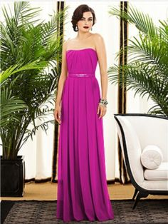 """Full length strapless lux chiffon dress w/ inverted v-pleat detail at neckline. Lux chiffon covered silver sequin 1"""" belt always matches dress. Pleated skirt."""