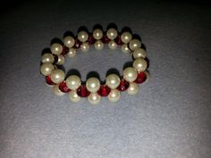white pearl and red swarovski crystals