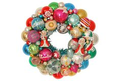 Holiday Wreath  w/ Ornaments - 295.00 - multi-colored. I think this is it! Sure hope there are some Christmas nuts out there to enjoy this obsession of mine! Lainey, perhaps? Or Peg, maybe?