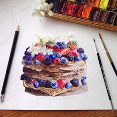 """""""Very Chocolate CakeДолго выбирая, какой десерт нарисовать, я остановилась на шоколадном красавце от @irencake Спасибо за вдохновение #kalachevaschool"""""""