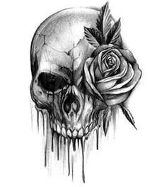 #Bloody Skull Tattoo With Rose - something like this in between my thumb and index finger. My dad had one. A good memorial tattoo. I don't care if it fades.