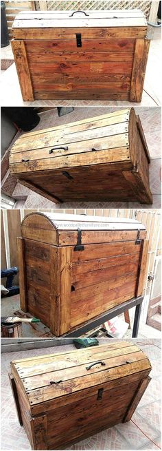 Refurbished pallets wooden trunk is another economical idea if you run out of money to buy yourself furniture. The retired pallets are assembled in not-so-crafty manner to make this useful trunk where you can keep your cloths, blankets and other fabric in a compact manner.