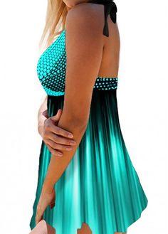 Polka Dot Print Asymmetric Hem Swimdress and Panty Polka Dot Print, Polka Dots, Denim Playsuit, Plus Size Swimsuits, Swim Dress, Bra Styles, Halter Neck, Sexy Bikini, Swimwear