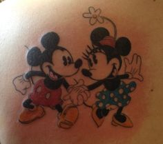 My new tattoo! Vintage Mickey and Minnie Mouse on the back of my shoulder. I am so in love with it, every time I see it, I smile.