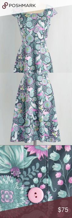 """Retrolicious """"what does the fox wear?"""" Dress This slyly stylish slate blue dress flaunts a forest of pastel blue, pink, violet and green flowers, bunnies, birds and foxes. ModCloth Dresses Midi"""
