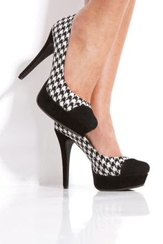 Houndstooth Platform Pump By Bamboo at Metrostyle i have this shoe and the dress they had at metrostyle