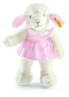 """Material: Made of plush for baby soft skin Size: 11.0 inches Color: Pink Eyes: Embroidered eyes Ear tag: Yellow tag; brass-plated """"Button in Ear"""" Joints & Pose: Not jointed Sound device: None Care: Machine washable at 86°F (30°C) Country of origin: Made in Tunisia"""