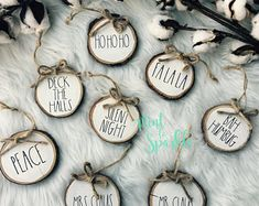 Rae Dunn inspired wood disc ornament // Wood slice ornament // Farmhouse style gift tags Source by Farmhouse Christmas Decor, Diy Christmas Ornaments, Rustic Christmas, Christmas Projects, Holiday Crafts, Christmas Holidays, Christmas Decorations, Simple Christmas, Xmax