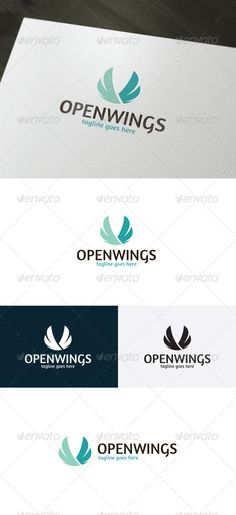Open Wings Logo by shaoleen • Fully Editable Logo • CMYK • AI, EPS, PSD, PNG files • Easy to Change Color and Text