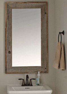 Lighthouse Barnwood Mirror with Raised Edge - 26x30 : MyBarnwoodFrames.com | Barnwood Frames, Rustic Picture Frames, Rustic Mirrors & Home Decor