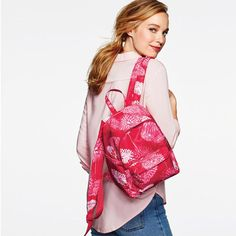 Pink Hope Mini Backpack. Patterned design with adjustable straps. Inner zip pocket and two side slip pockets, outer zip pocket, logo zipper pulls. Avon will donate 20% of net profits from breast cancer fundraising products—up to $1 million in 2017—to the Avon Foundation for Women to support Avon Breast Cancer Crusade programs across the U.S.