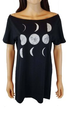 Off the Shoulder Moon Phases Top / Solar Eclipse Wide Neck Tee by SassysEdgyDesigns on Etsy