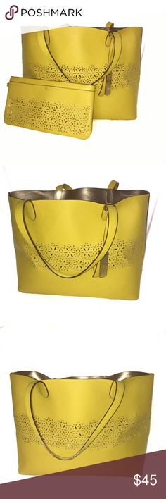 "Yellow Ralph Lauren Lasercut Classic Tote Combo This sleek tote from Lauren Ralph Lauren is crafted from laser-cut leather and features signature metallic plaque. Featuring an open top with a detachable matching clutch. This will be your favorite bag this summer! Overall great condition, a little bit of wear on the bottom corners (see photo). Gorgeous lemon marigold color with bronze interior.  Measures approximately: 14"" x 11"" x 7""  Check out my closet for more great items! Offers…"