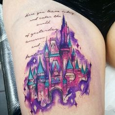 Very sore and swollen disney castle done today , thanks for sitting so well Natalie #watercolours #watercolour #watercolourtattoo #disneyprincess #disneytattoo #disney #disneycastle #disneyworld