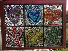 Colorful hearts stained glass mosaic by Lightofmineglass on Etsy, $180.00